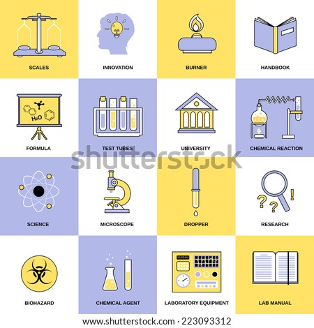 Science chemistry laboratory research equipment flat line icons set isolated vector illustration - stock vector