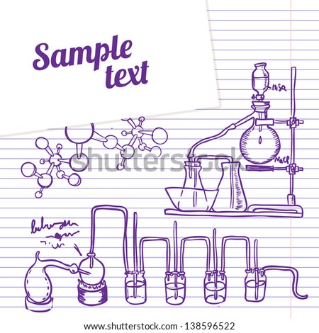 Science chemistry laboratory vector background (sketchy style) - stock vector