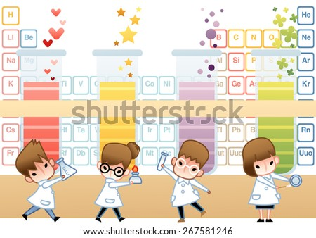 Science Class - cute young girl and boy scientist examine with laboratory equipment and colorful liquid sample in experimental research lab on white background with big test tube : vector illustration - stock vector