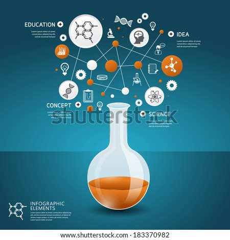 Science concept design template for infographics - stock vector