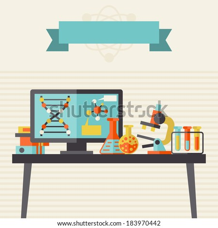 Science concept illustration in flat design style. - stock vector