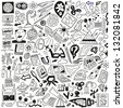 Science - doodles set - stock photo