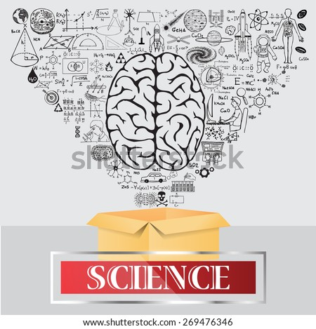 Science doodles. Think outside the box and learn more. - stock vector