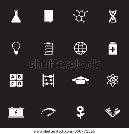 Science, education vector icon set for web and mobile.