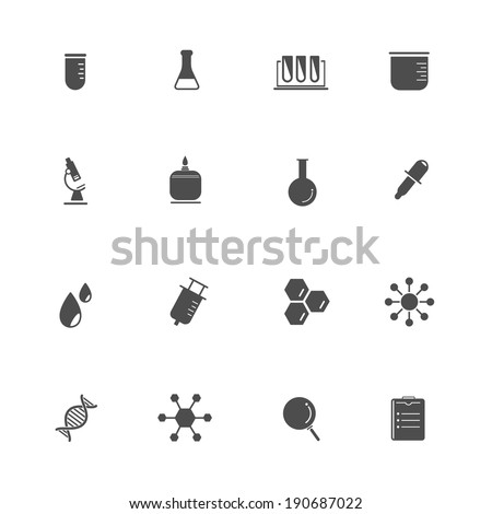 Science Equipment and Lab black Icons  - stock vector