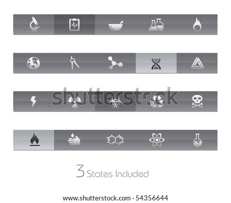 Science // Gelbar Series  +++ It includes 3 buttons states in different layers.  +++ - stock vector