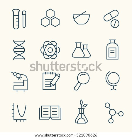 Science icon set - stock vector