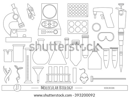 Science icon set in trendy line style. Vector icons for Biology, Biotechnology & Chemistry laboratory protocols & catalogs, product labeling, identity, web site & scientific illustration elements.  - stock vector