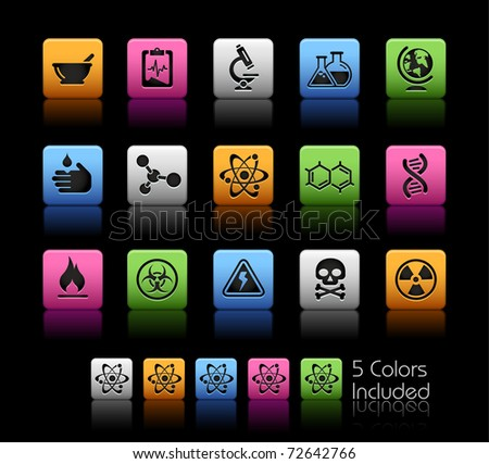 Science Icons // Color Box -------It includes 5 color versions for each icon in different layers --------- - stock vector