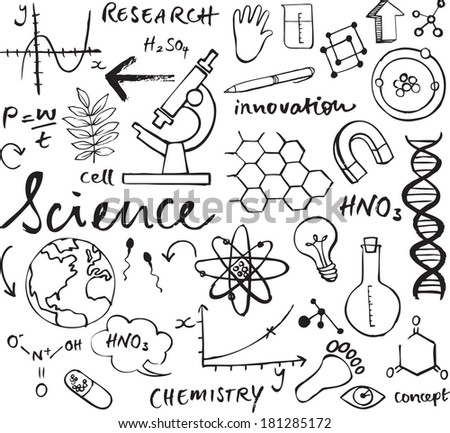 Science icons doodle vector set - stock vector