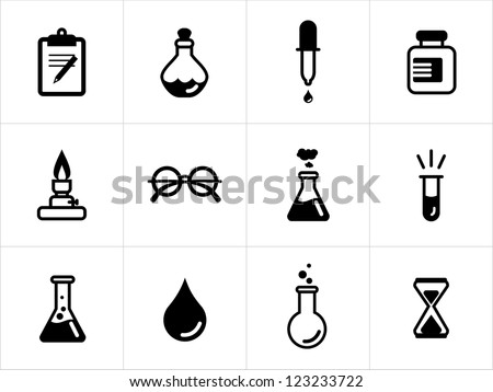 Science icons in black and white - stock vector