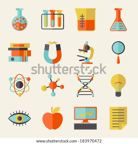 Science icons in flat design style. - stock vector