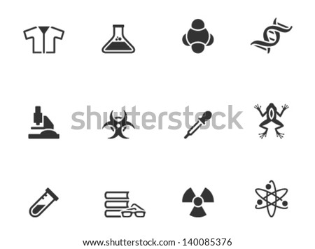Science icons in single color - stock vector