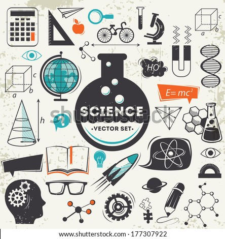 Science icons set - stock vector