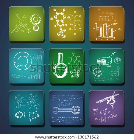 Science icons. Set of the scientific symbols drawn by a chalk. - stock vector