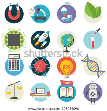 Science, Illustration series, Flat style, isolated on white background - stock vector