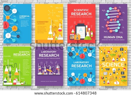 Science Information Cards Set Laboratory Template Stock Photo Photo