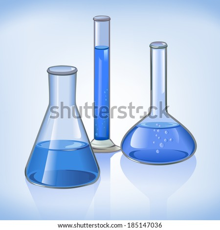 Science laboratory flasks glassware template on blue still life symbol vector illustration
