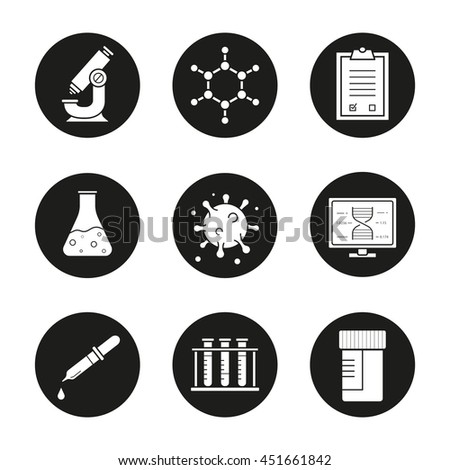 Science laboratory icons set. Microscope, molecular structure, tests checklist, beaker with liquid, virus, lab computer, pipette, test tubes and jar. Vector white illustrations in black circles - stock vector