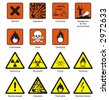 Science Laboratory Safety & Chemical Hazard Signs - stock vector