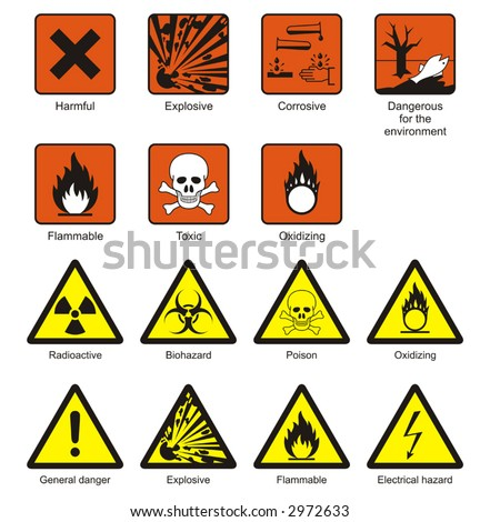 Science Laboratory Safety Chemical Hazard Signs Stock Vector 2972633