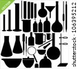 Science laboratory silhouettes vector - stock vector