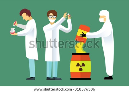 Science laboratory vector people set. People in laboratory isolated silhouette. Chemist, Medical Doctor, Scientist laboratory, science, research, biologist, lab, test, flask icons vector illustration - stock vector