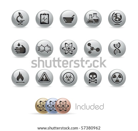 Science // Metal Round Series --- It includes 4 color versions for each icon in different layers.---