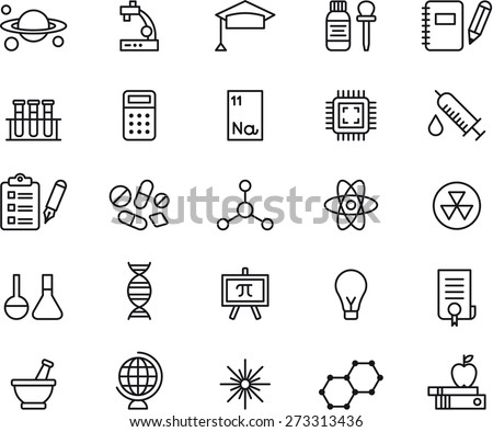 SCIENCE outlined icon set - stock vector