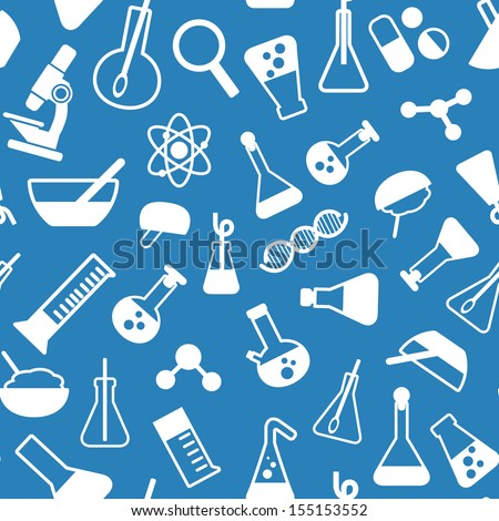 science pattern seamless patten with the symbols of science, laboratory, chemistry - stock vector