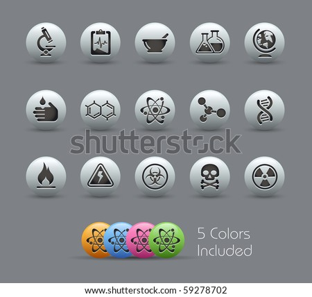 Science // Pearly Series -------It includes 5 color versions for each icon in different layers --------- - stock vector