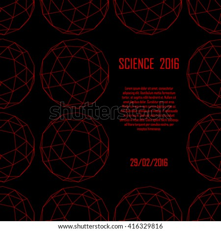 Science poster. Geometry - platonic solids. Illustration for your event, presentation, science report, lecture, conference, convention, congress