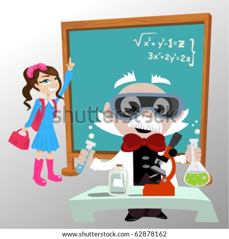 science professor with student - stock vector