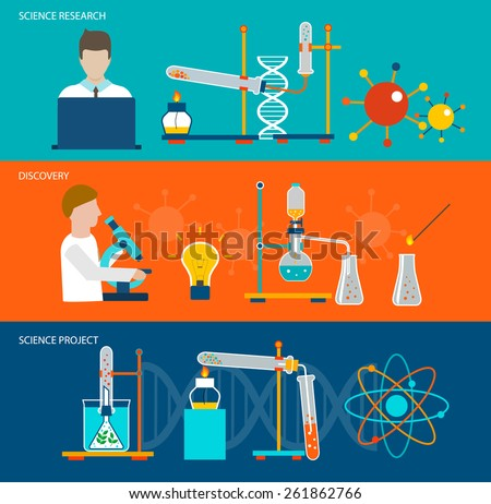 Science research and chemical laboratory horizontal banners  with discovery and science project design elements, vector illustration - stock vector