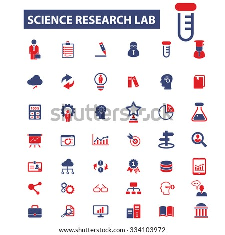 science research lab icons, signs vector concept set for infographics, mobile, website - stock vector
