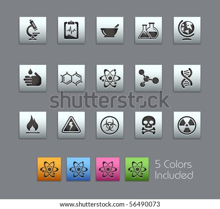 Science // Satinbox Series -------It includes 5 color versions for each icon in different layers --------- - stock vector