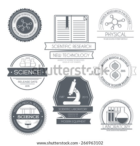 Science set label template of emblem element for your product or design, web and mobile applications with text. Vector illustration with thin lines isolated icons on stamp symbol.  - stock vector