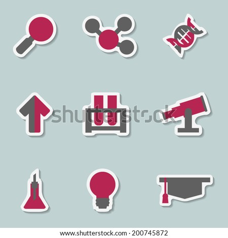 Science sticker icon set with  bio chemical laboratory elements - stock vector