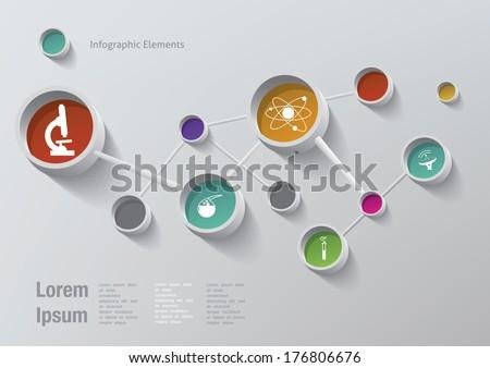 Science symbols in atoms of the molecule - stock vector