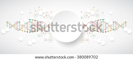 Science template, colorful wave, wallpaper or banner with a DNA molecules. Vector illustration. - stock vector
