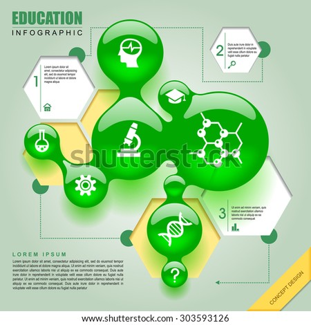 Science template design with green bubbles and hexagons. Education-chemistry infographic concept. Vector illustration - stock vector