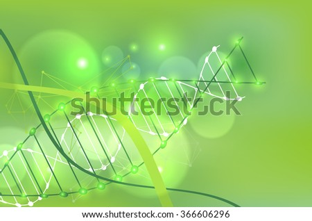 Science template, green wallpaper or banner with a DNA molecules. Vector illustration. - stock vector