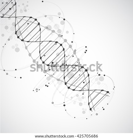 Science template, wallpaper or banner with a DNA molecules. Vector illustration. - stock vector