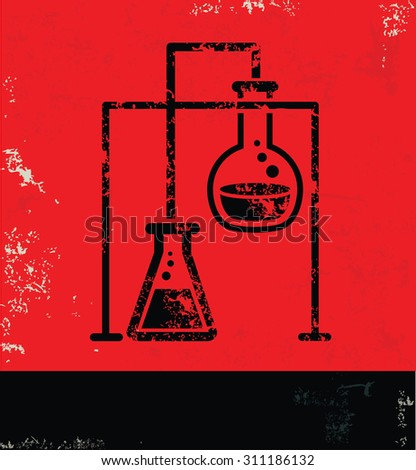 Science,test design on red background, grunge vector