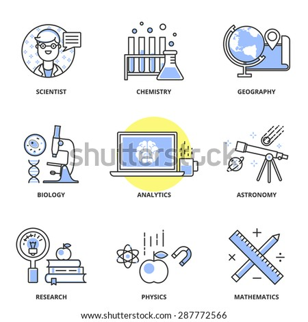 Science vector icons set: scientist, chemistry, geography, biology, analytics, astronomy, research, physics, mathematics. Modern line style - stock vector