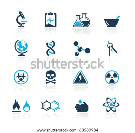 Science Web Icons // Azure Series - stock vector