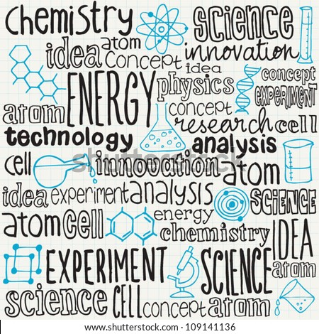 Science words and doodles vector set - stock vector