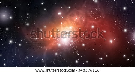 Scientific design template with copy space. Hipster triangles and molecule structure on space background. Vector design for music albums, posters, flyers, web design and mobile application.  - stock vector