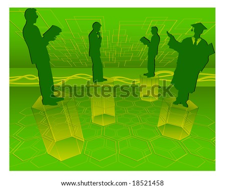 Scientific employees and mathematical figures on green background, illustration