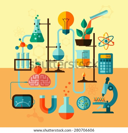 Scientific research biological chemistry laboratory equipment with calculator atom symbol and microscope poster flat abstract vector illustration - stock vector